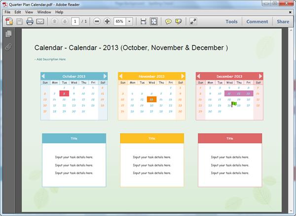 PDF Calendar Template