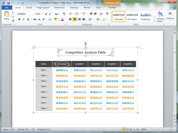 Word Competitive Analysis Template  Microsoft Competitive Analysis