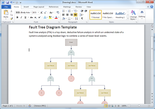Word Fault Tree Template