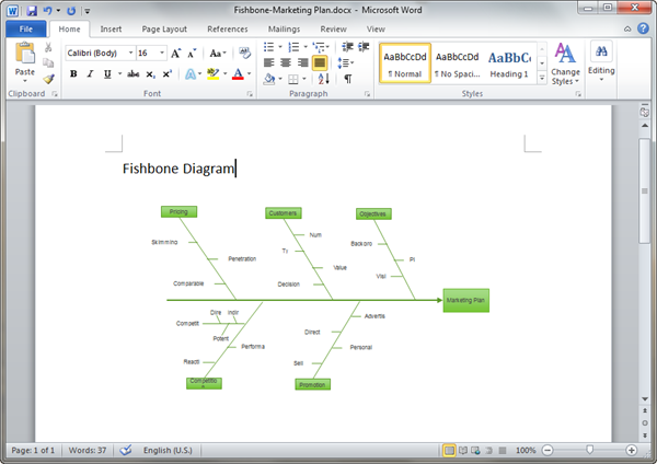 Word Fishbone Diagram Template