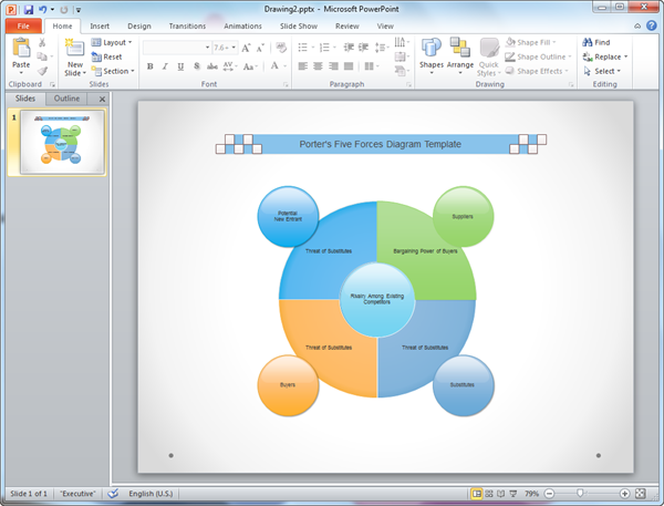 PowerPoint Five Forces Diagram Template