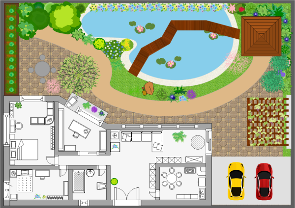 Front garden designs examples and templates for Visio garden template