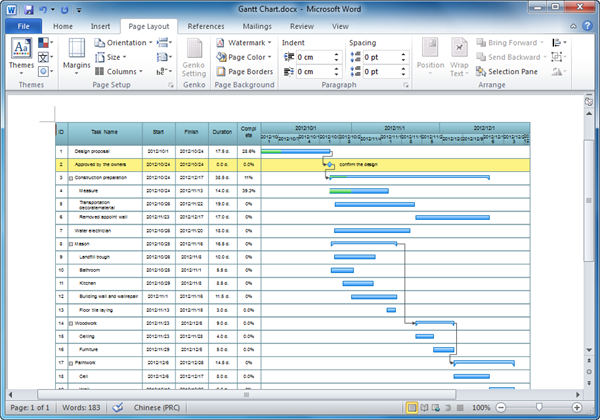 Gantt Chart Templates for Word