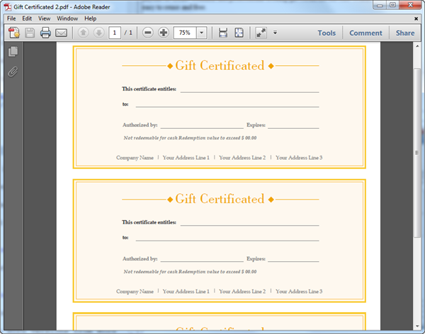PDF Gift Certificate Template