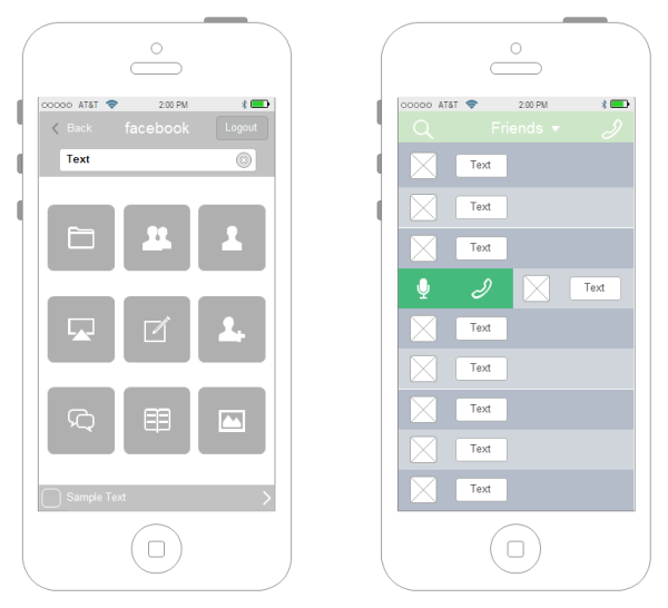 Exemple de wireframe d'interface iPhone
