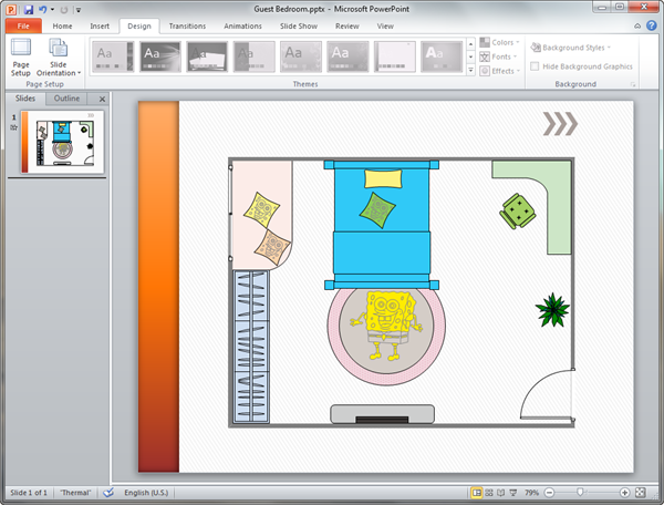 Kids room plan templates for powerpoint for Apartment design ppt