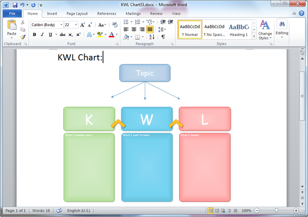 Kwl chart templates for word for Kwl chart template word document