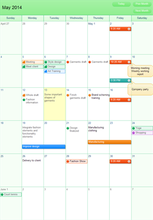 Monthly Working Plan Calender