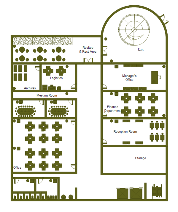 Office building plan examples and templates for Office layout software