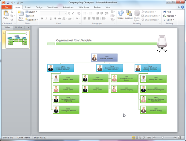 Organizational chart templates for powerpoint for Power point org chart template