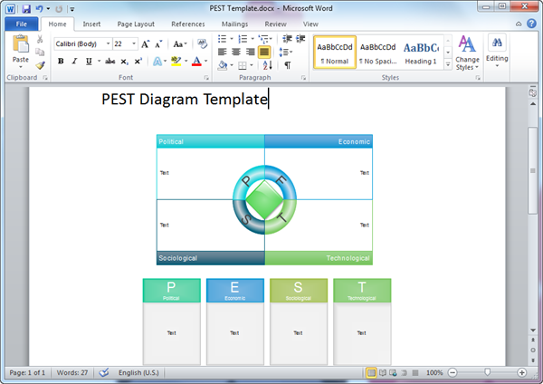 Word PEST Diagram Template