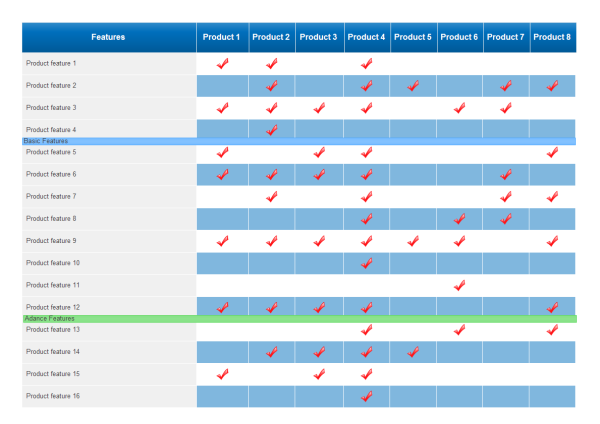 Product Comparison Chart Template OTaiL9bS