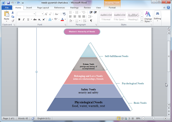 Word Pyramid Diagram Template