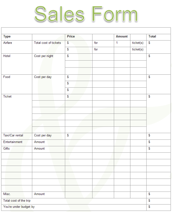 Sales Form Template