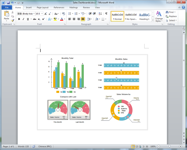 Word Sales Dashboard Template