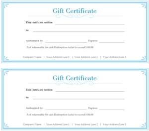 Simple Gift Certificate 300
