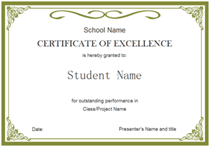 Student Certificate 300