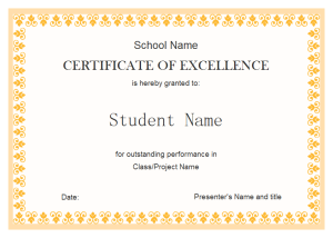 Superb Edraw Student Excellence Award Template Intended Award Word Template