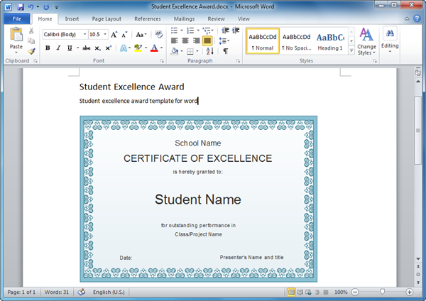 Word Student Excellence Award Template