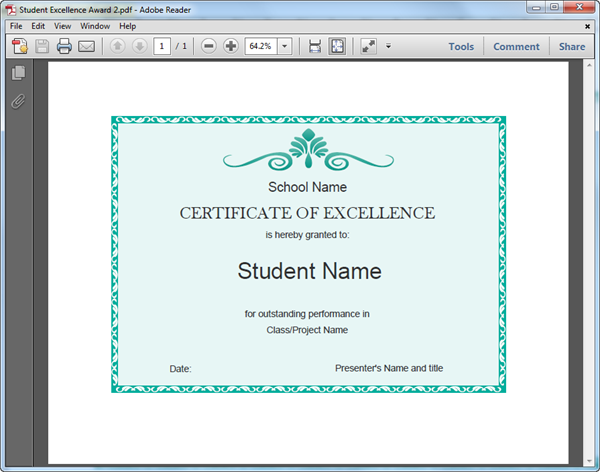 PDF Student Excellence Award Template