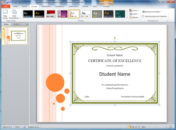 Student excellence award templates for powerpoint powerpoint student excellence award template yelopaper Images