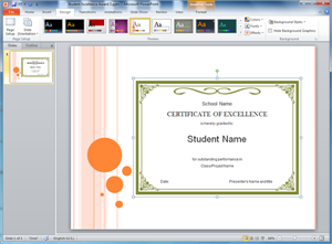 PowerPoint Student Excellence Award Template