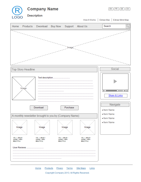 Exemplo de Wireframe de Design de Website