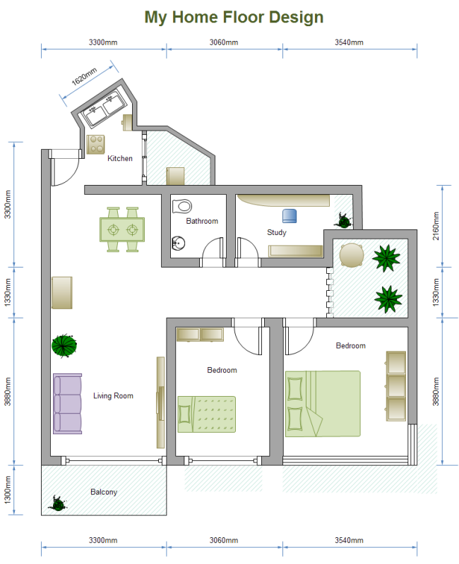 2 bed floor plan - Free Design Floor Plans