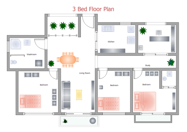 3 Bed Floor Plan | Free 3 Bed Floor Plan Templates