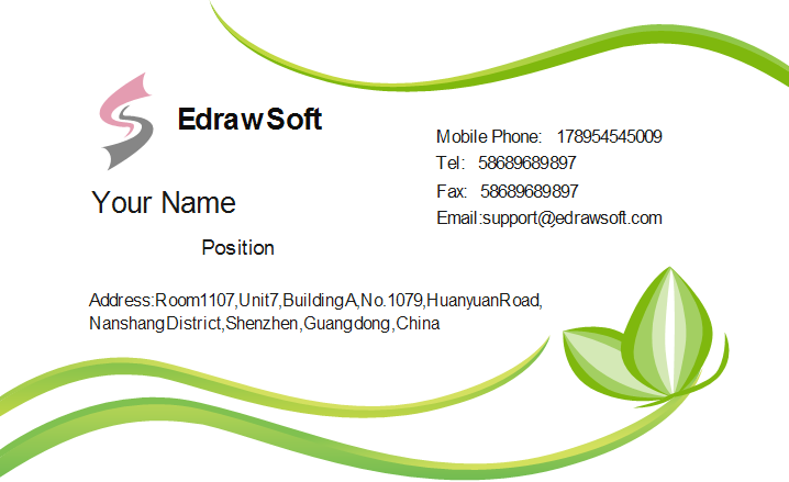 Abstract green business card template accmission