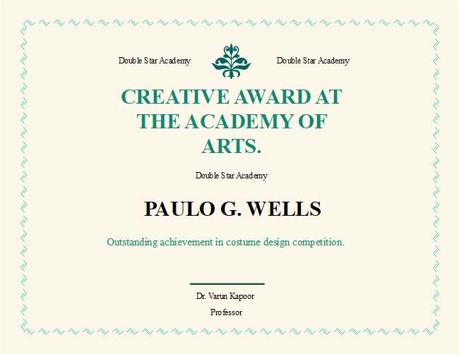 Academy award certificate free academy award certificate templates description heres an academy award certificate template with beige background and green frame change the background ornament title style and lines with yadclub Choice Image