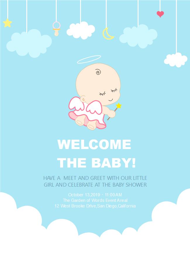 Angel Baby Shower Invitation Free Angel Baby Shower Invitation