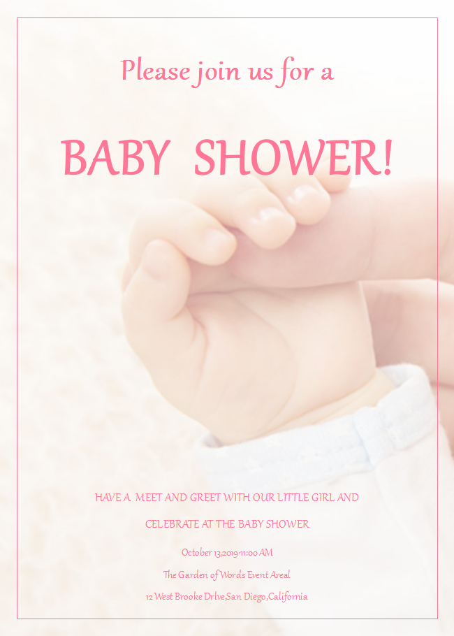 Baby Hand Baby Shower Invitation