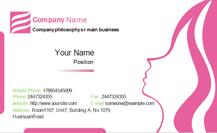 Beauty Business Card Front Template