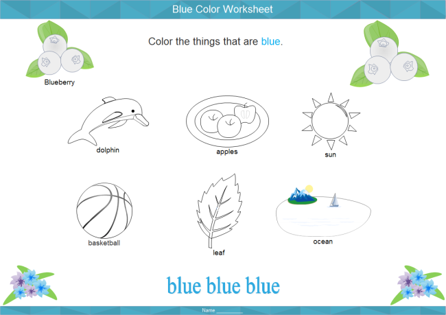 Blue Color Worksheet