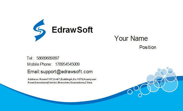 Blue Curve Business Card Front