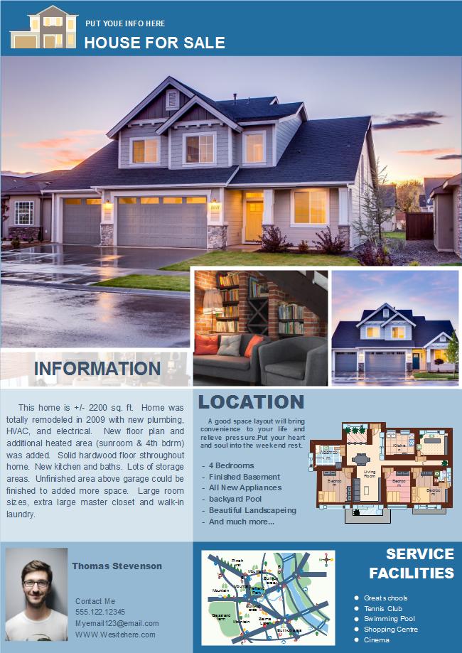 Blue Real Estate Flyer Free Blue Real Estate Flyer Templates