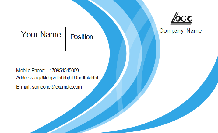 Blue Wave Business Card Front