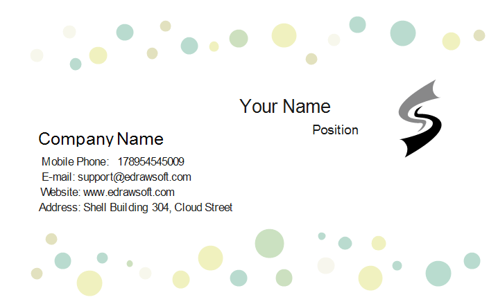 Bubbles Business Card Front