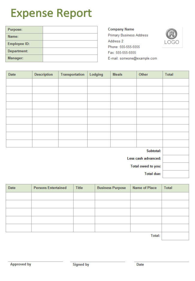 Business Expense Report  Printable Expense Sheet