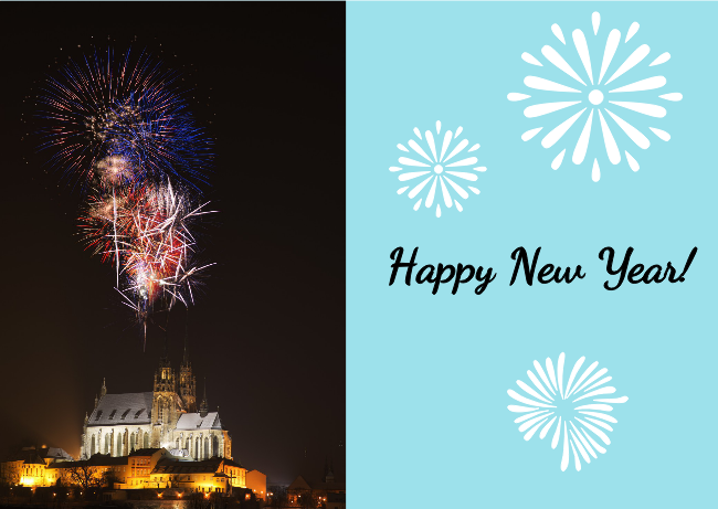 castle fireworks new year card