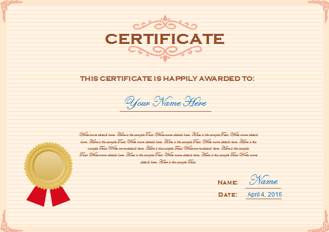 Certificate free certificate templates description download this free customizable certificate template and replace the content with yours this is the fastest way to make a certificate yadclub Image collections