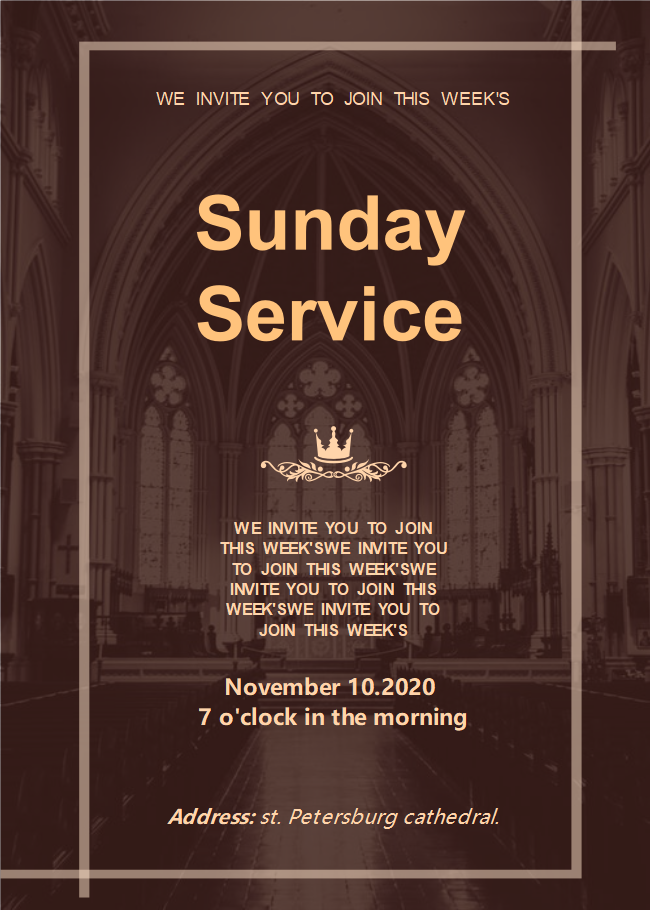 Church Sunday Service Invitation