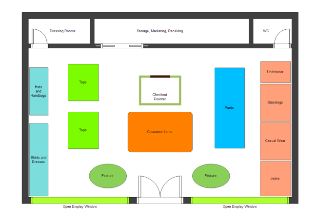 Clothing store plan free clothing store plan templates for Retail store floor plan