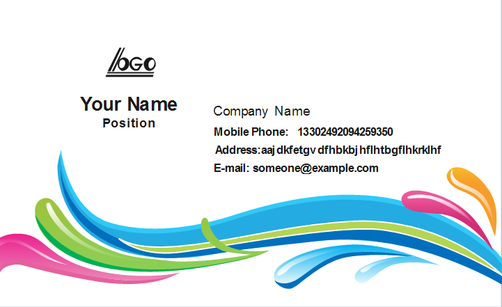 Colorful Curve Business Card Front