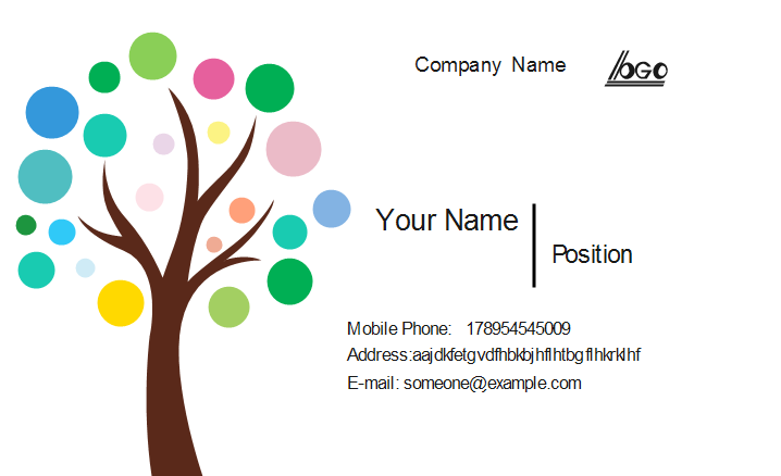 Colorful Tree Business Card Template