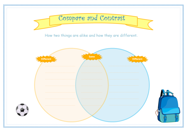 Examples of graphic organizer for Compare and contrast graphic organizer template