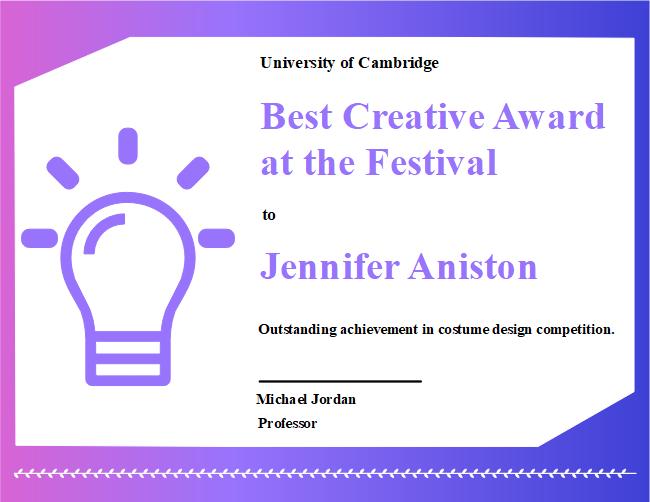 creative award certificate free creative award certificate templates