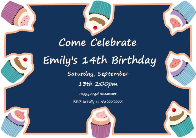Cupcakes Birthday Invitation Card Free Cupcakes Birthday