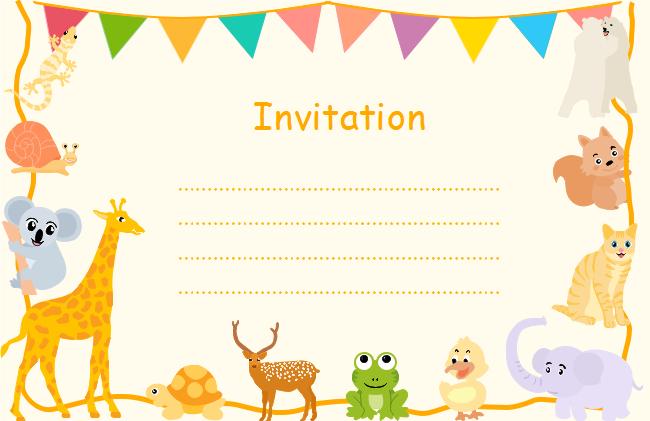 Cute Animals Invitation Card Free Cute Animals Invitation